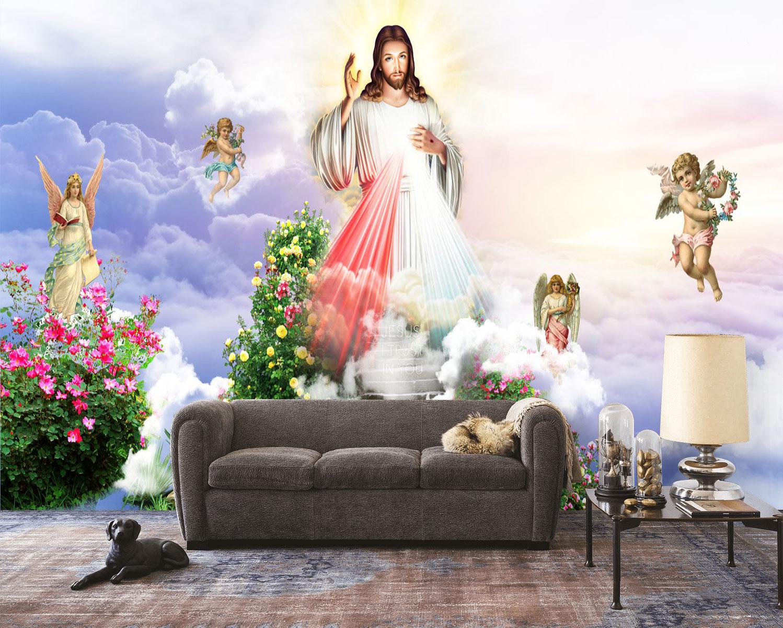 Tranh Dán Tường Công giáo Chúa Giê Su Cùng Những Thiên Thần