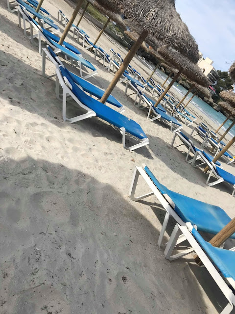 sunloungers on the beach at Santa Ponsa in Majorca