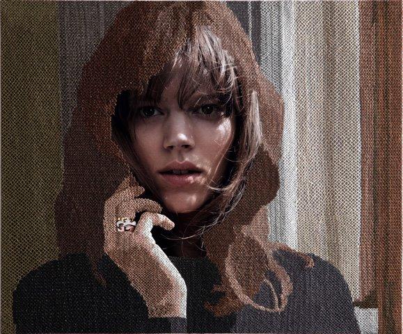 cross-stitched georg jensen ad campaign