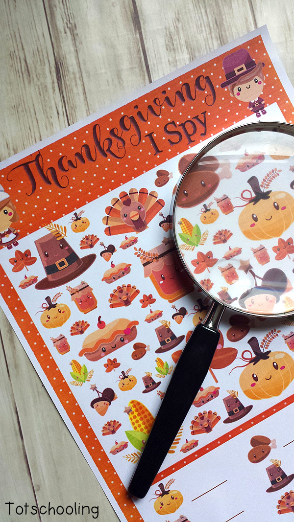 FREE printable I Spy game for Thanksgiving fun. Perfect busy activity at the dinner table. Kids will love finding the adorable images that come in different sizes, making it a challenging visual discrimination activity.