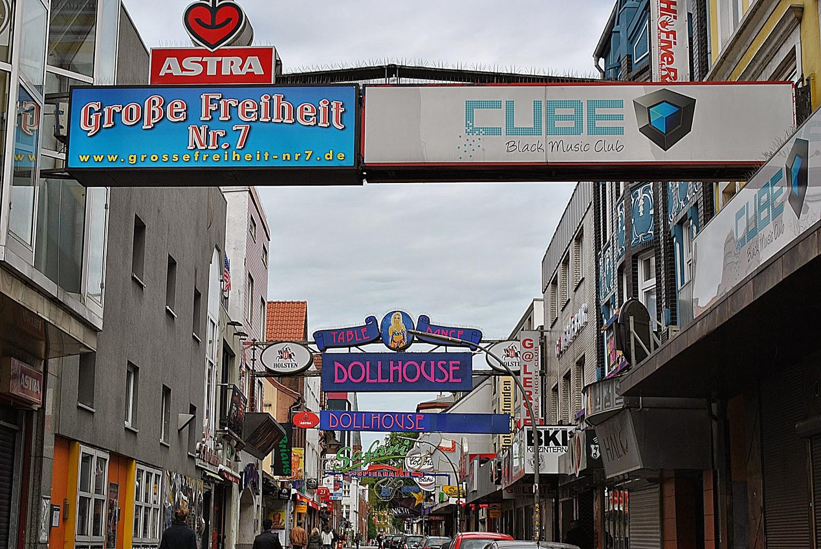 Hamburg, St Pauli, Reeperbahn, dzielnica czerwonych latarni