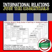 International Relations Outline Notes, Civics Test Prep, Civics Test Review,Civics Study Guide, Civics Summer School Outline, Civics Unit Reviews, Civics Interactive Notebook Inserts