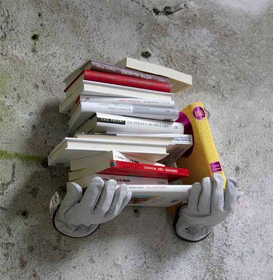 Hand Sculpture Wall Book Shelf - Image: Pinterest Community