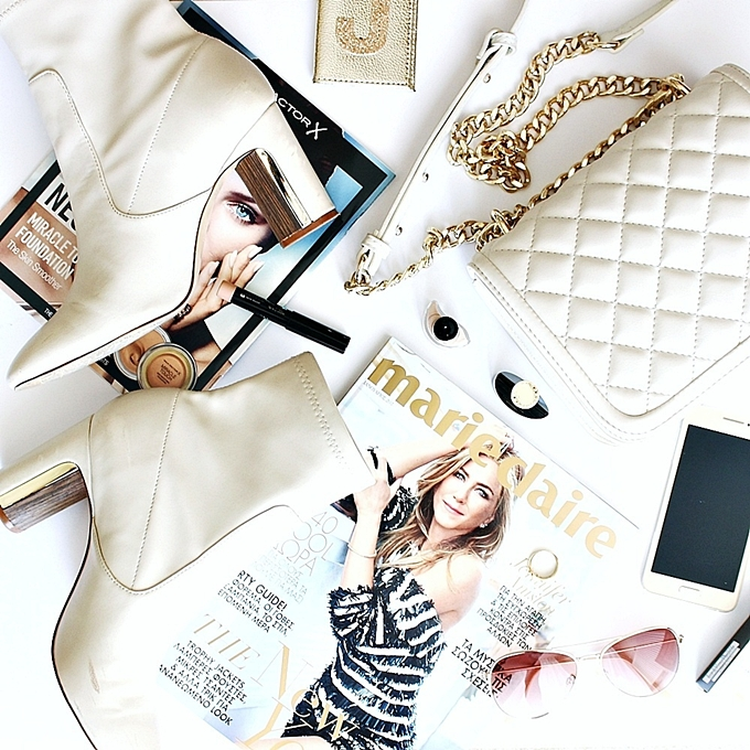 white theme fashion style lifestyle flatlays