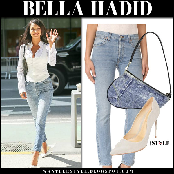 Bella Hadid in white shirt, high rise jeans with denim saddle bag dior august 26 2017 model style