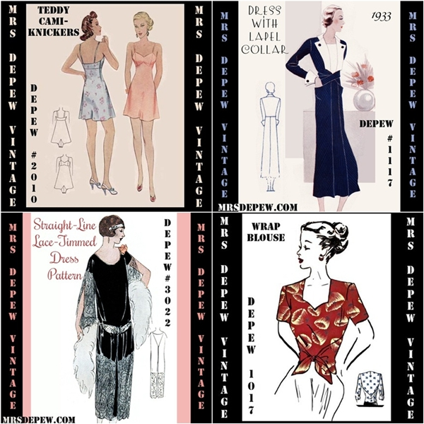 mrs depew vintage pdf sewing patterns 1930s lingerie, dress, 1920s dress pattern and 1940's wrap blouse pattern