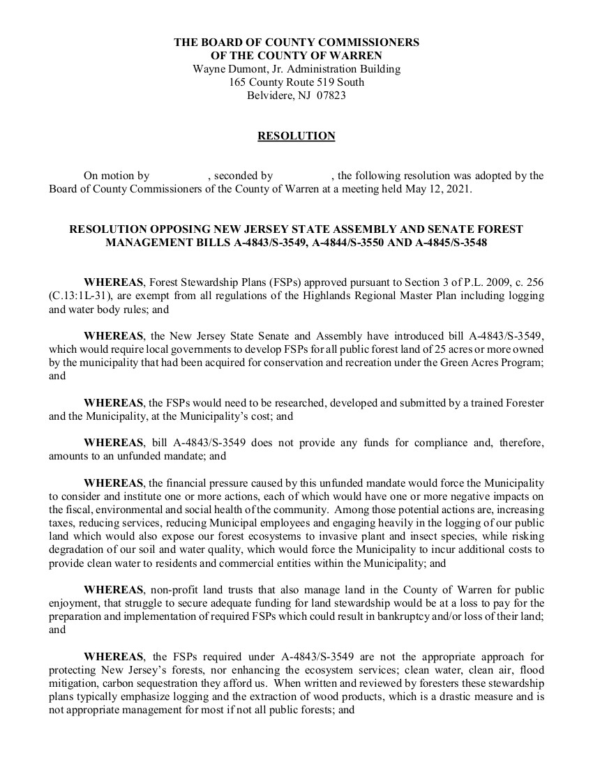 2021 Warren County NJ Resolution opposing Forest Management Plans Page 1