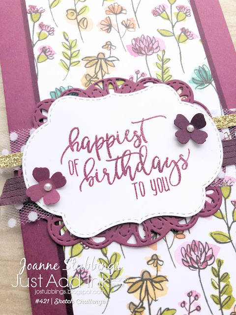 Jo's Stamping Spot - Just Add Ink Challenge #421 using Share What You Love Specialty DSP, Stitched Seasons framelits and Stitched Labels framelits by Stampin' Up!