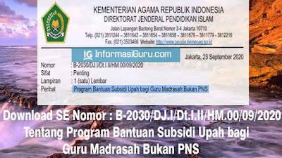 Download SE Nomor : B-2030/DJ.I/Dt.I.II/HM.00/09/2020 Tentang Program Bantuan Subsidi Upah bagi Guru Madrasah Bukan PNS I PDF