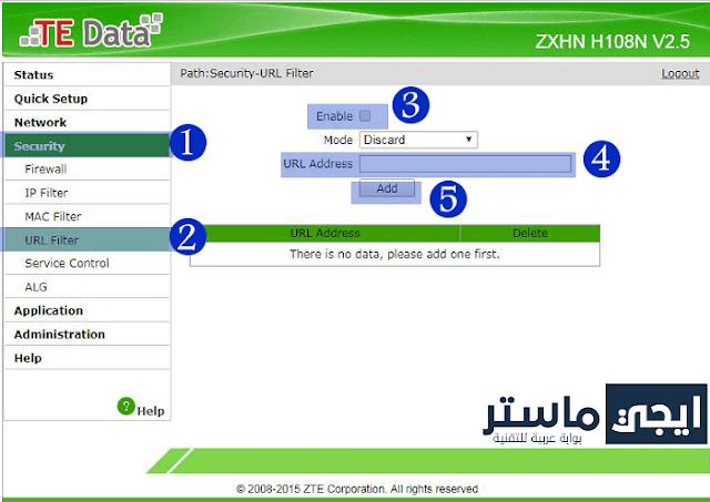 حجب المواقع من راوتر ZXHN H108N