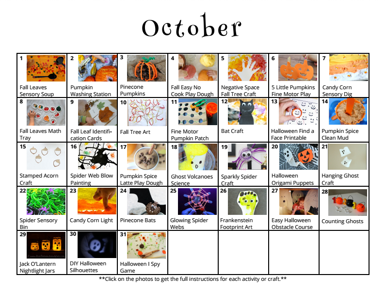 October Activity Calendar for Kids with 31 cute crafts and activities to try from And Next Comes L