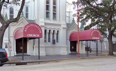 Annunciation Church sidewalk entrances with canopies