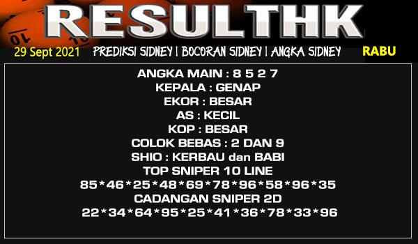Prediksi Result Sidney Rabu 29 September 2021