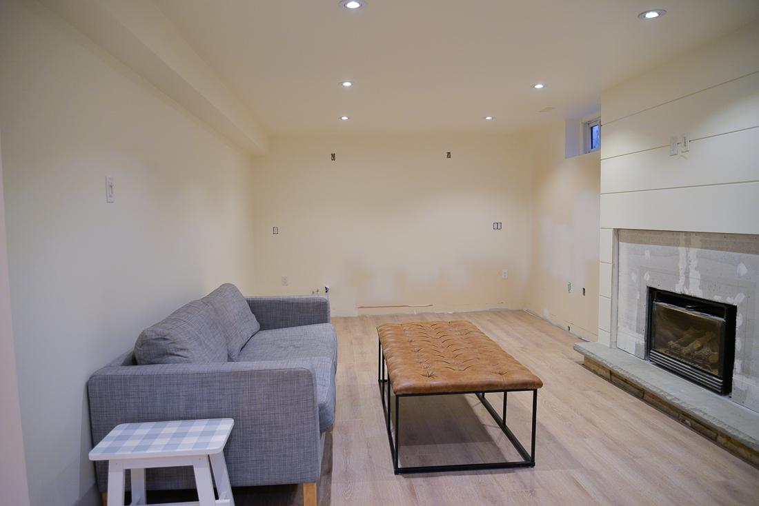 simply white basement, simply white benjamin moore, basement white paint