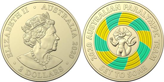 Australia 2 dollars 2020 - Paralympic Team mascot – Lizzie the Lizard
