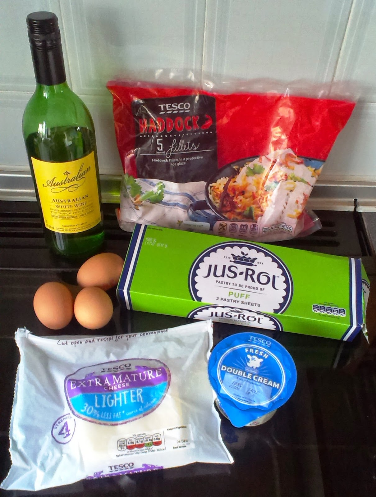 Ingredients for Creamy Smoked Haddock Puff Pastry Pie