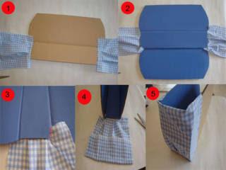 Rekatkan kain dan warnai kardus