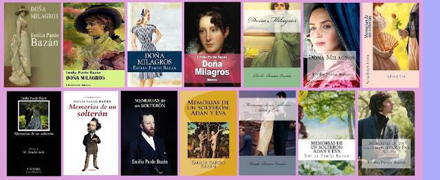 Portadas de los libros Doña Milagros y Memorias de un solterón, de Emilia Pardo Bazán