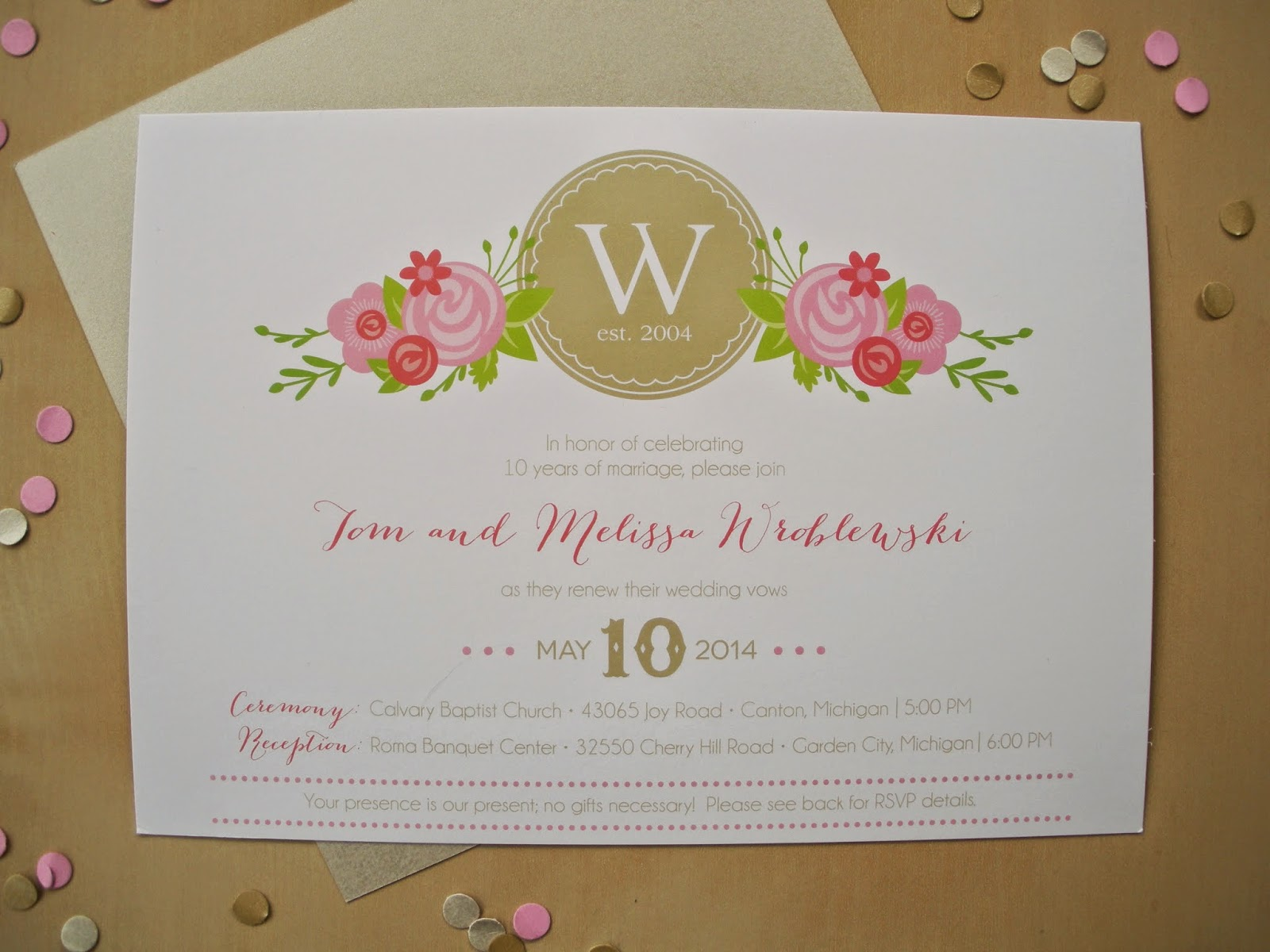 Invitation For Renewal Of Wedding Vows: Vivian Elle Invitations: Melissa And Tommy's Vow Renewal