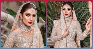 Pastel Dress with Silver Jewelry and Dark Red Lipstick   Ayeza Khan New Shoot is a Major Bridal Goal