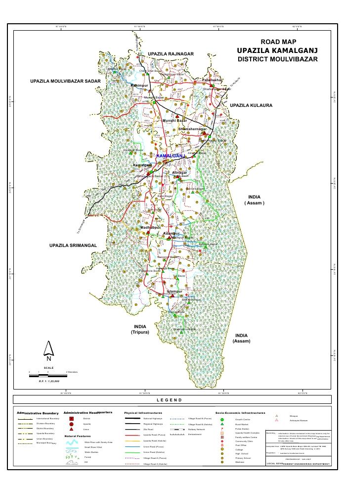 Kamalganj Upazila Road Map Moulvibazar District Bangladesh