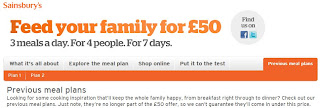Screen shot from Sainsbury's website that annoyed me