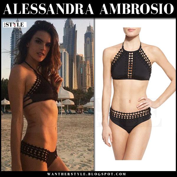 Alessandra Ambrosio in black crochet trim two piece bikini beach dubai what she wore