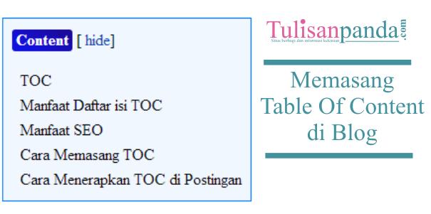 membuat daftar isi (toc) seo di blog