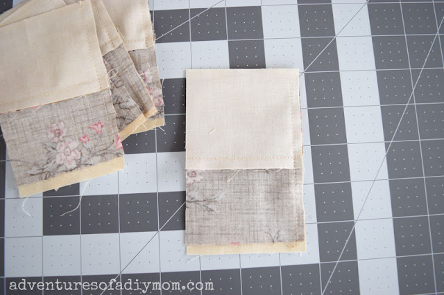 sewing together four patch squares