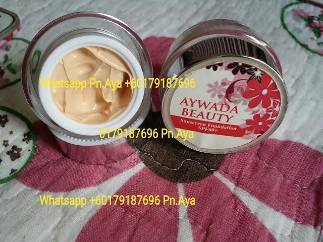 Aywada Beauty Sunscreen Foundation ialah merupakan bedak asas yang diperbuat  daripada ekstrak cherry berkesan mengekalkan kelembapan pada kulit  anda , anti oksidan tinggi serta mempercepatkan proses pemutihan wajah dengan  selamat dan berkesan.  Aywada Beauty Sunscreen Foundation nie mengandungi SPF 60 utk menghalang daripada  kulit gelap.Selain itu bedak asas nie jg membantu menutup cela,jeragat,jerawat  dan parut di samping menjadikan kulit lebih cantik dan berseri.  ANDA TIDAK  PERLU MENGGUNAKAN BEDAK,CUKUP DENGAN MENCALIT AYWADA BEAUTY SUNSCREEN FOUNDATION SAHAJA!MUDAH,RINGKAS DAN MENJIMATKAN!!! Sebekas boleh tahan2-3 bulan & harga sangat murah!semakin  berpeluh kulit lebih nampak gebuuuu!Tunggu apa lagi  Jom la order sekarang!.  HARGA:  1 PCS 10 GRAM RM40 S/M..RM45 S/S..FREE POSLAJU 1 PCS 5 GRAM RM25 S/M..RM30 S/S..FREE POSLAJU  WHATSAPP 0179187696 #aywadabeauty #sunscreenfoundation #foundationspf60 #aywadabeautyfoundation #sayajualfoundation #bazarpaknil #bazaarpaknil #sayajualkrimspf #sayajualkrim #readystockmalaysia #produkartismalaysia #produkkecantikanmalaysia  #bazarpaknil #bazaarpaknil #produkkecantikkan #dropshipagenmalaysia #dropship #agendropship #produkdropship #dropshipmalaysia #malaysia #instashopmalaysia #sayajual #visitmyig #visitmyigmalaysia  #sayajualmurah #readystockmalaysia