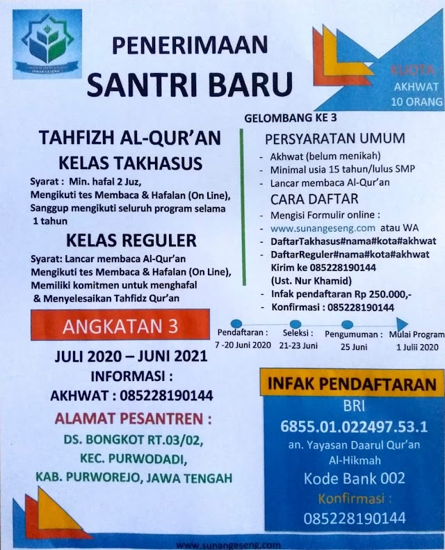 Penerimaan Santri Baru Tahfizh Al-Quran Kelas Takhasus dan Kelas Reguler