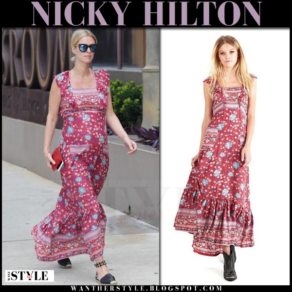 Nicky Hilton in red floral print maxi dress spell and the gypsy collective what she wore baby bump