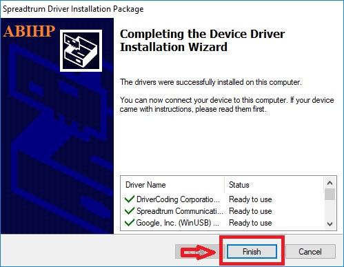 Selanjutnya klik Finish yang menandakan proses instalasi SPD Driver selesai.