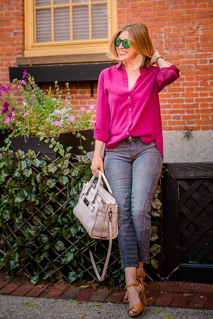 J.Jill silk forward seam shirt in plum