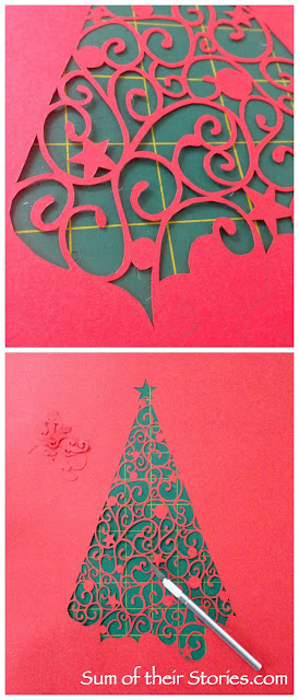 Papercut Christmas Tree Picture in progress
