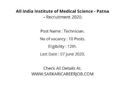 Patna AIIMS Recruitment 2020   10 Posts AIIMS Patna Vacancy 2020.
