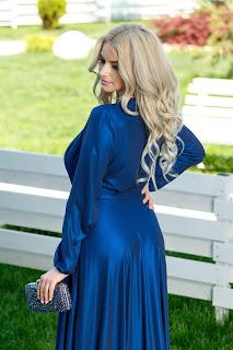 Rochie Brise Brittney albastru metalic lunga eleganta2