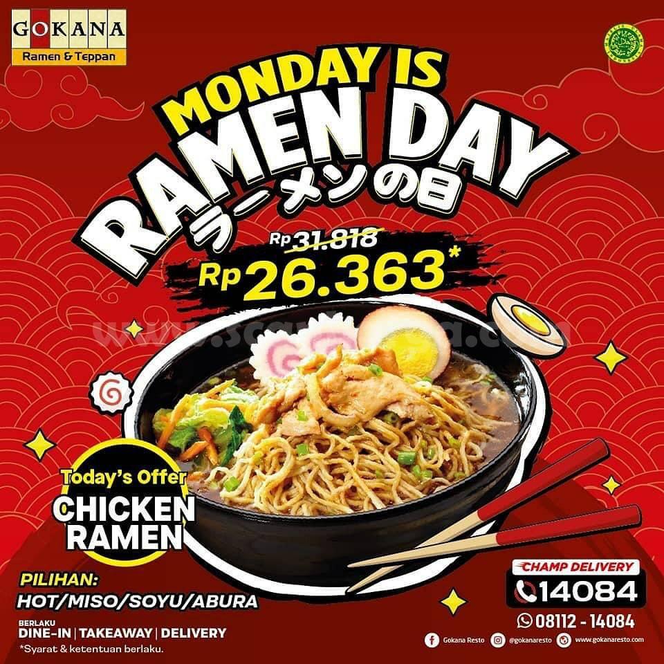 GOKANA MONDAY Is Ramen Day! hanya Rp 26.363