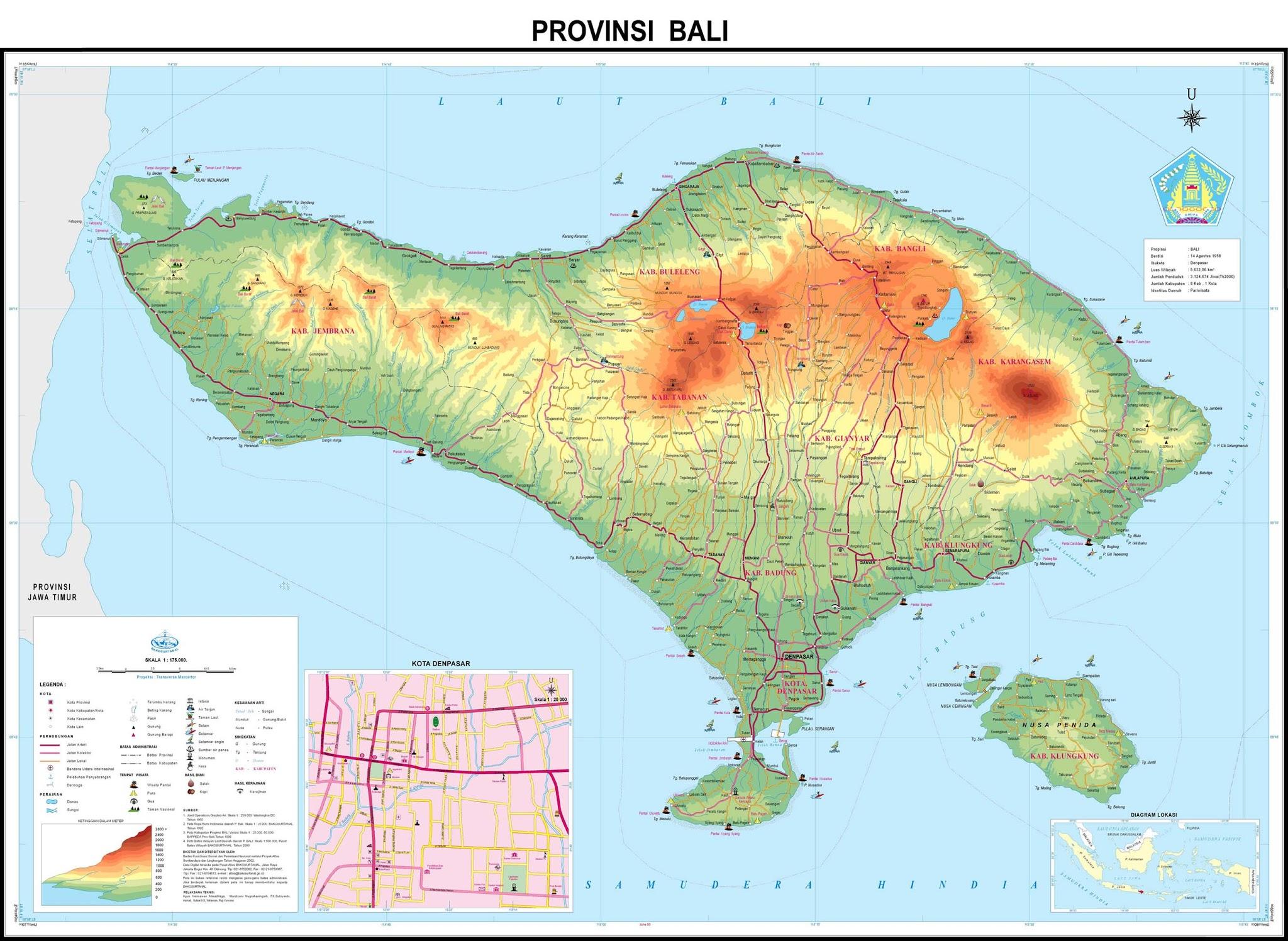 Peta Kota: Peta Provinsi Bali -HD