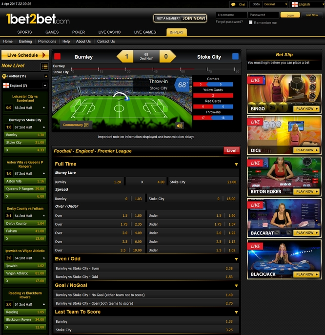 1bet2bet Live Betting Screen