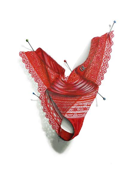 String en dentelle rouge avec des rubans rouges au centre proposé par Charline