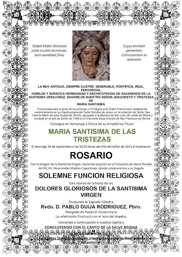 Rosario de la Aurora de la Virgen de las Tristezas de la Hermandad de la Veracruz de Sevilla este domingo 19 de Septiembre del 2021