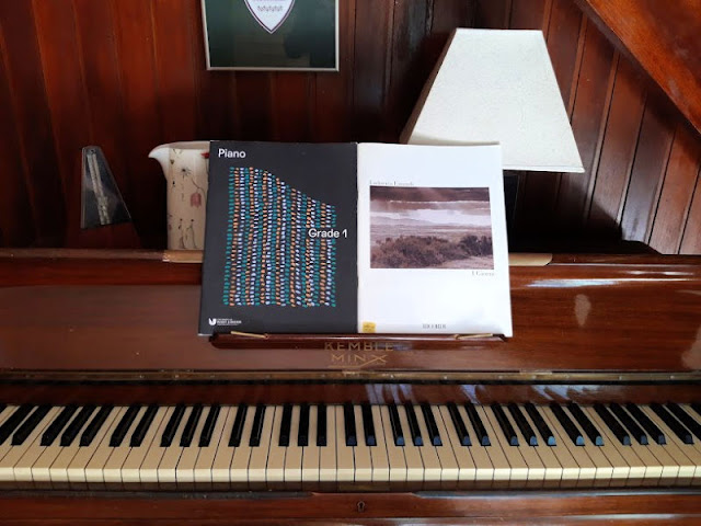 Image shows a piano with two music books resting on the stand.  In the foreground is the piano keyboard and on the piano lid is a metronome on the left, a jug with flowers on it and a lamp with a white shade to the right.  The wall behind is panelled wood and there is a picture on the wall which can only be partly seen.