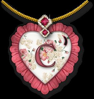 Abecedario dentro de Corazón con Flores.