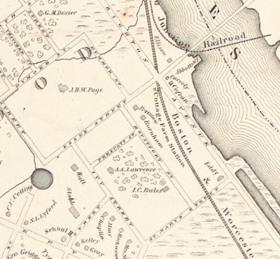Charles River waterfront, 1855 map