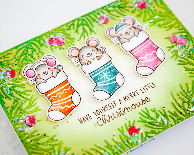 Sunny Studio Stamps: Merry Mice Christmas Garland Frame Die Christmas Cards by Keeway Tsao