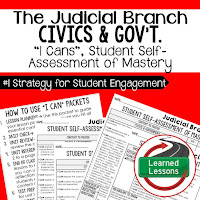 Judicial  Branch, Civics and Government I Cans, Self-Assessment of Mastery, Student Ownership of Learning