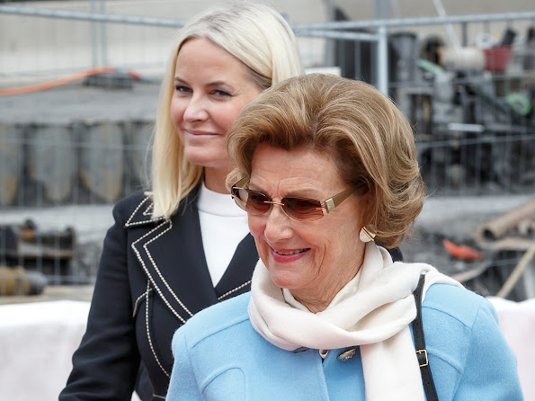 Queen Sonja and Crown Princess Mette-Marit of Norway laid the foundation stone of the new National Museum in Oslo. Diamond Jeweler, earrings, newmyroyals