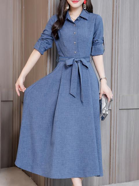 Fold-Over Collar Single Breasted Plain Maxi Dress Blue