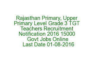 Rajasthan Primary, Upper Primary Level Grade 3 TGT Teachers Recruitment Notification 2016 15000 Govt Jobs Online Last Date 01-08-2016